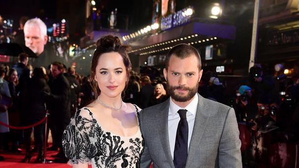 Dakota Johnson and Jamie Dornan arriving for the Fifty Shades Darker premiere