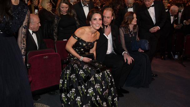 The Duchess of Cambridge wore an off-the-shoulder Alexander McQueen gown