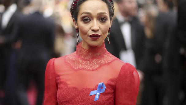 Ruth Negga wearing an ACLU ribbon. (AP)