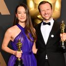 Orlando von Einsiedel and Joanna Natasegara with the award for Best Documentary Short Subject for The White Helmets