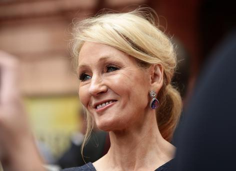 JK Rowling arriving for the opening gala performance of Harry Potter and The Cursed Child, at the Palace Theatre in London.