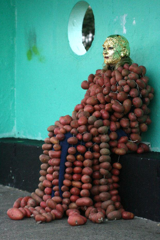 Amanda in her installation on Bull Wall 'How to Explain the Sea to an Uneaten Potato'