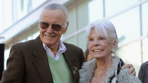 Comic book creator Stan Lee with his wife Joan after he received a star on the Hollywood Walk of Fame in Los Angeles in 2011 (Chris Pizzello/AP)