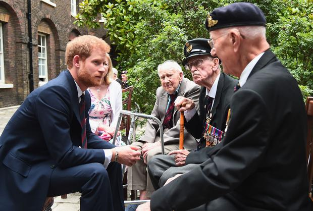 Prince Harry hosts a reception at Kensington Palace in London attended by Dunkirk veterans (Eamonn M McCormack/PA)