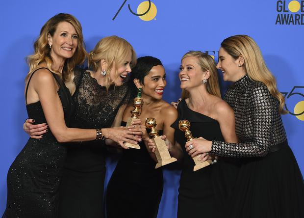 From left, Laura Dern, Nicole Kidman, Zoe Kravitz, Reese Witherspoon and Shailene Woodley (Jordan Strauss/Invision/AP)