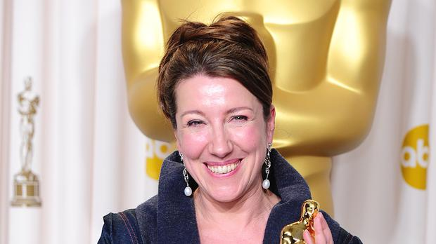 Jacqueline Durran with her Oscar in 2013 (Ian West/PA)