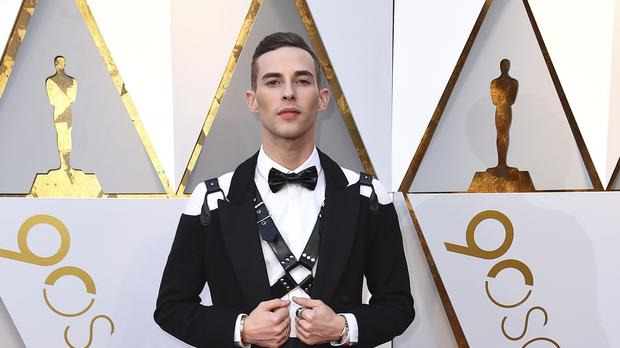 Figure skater Adam Rippon wears a leather harness to the Oscars (Jordan Strauss/AP)