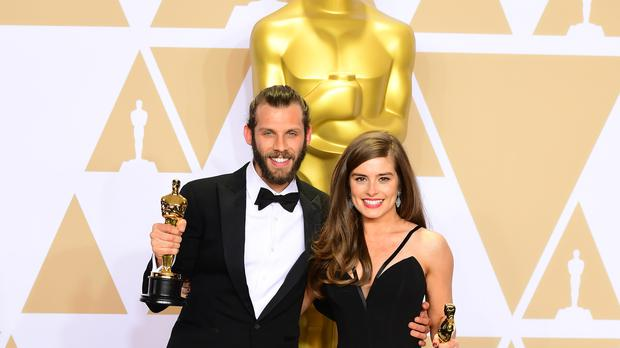 Chris Overton and Rachel Shenton at the Oscars (Ian West/PA)