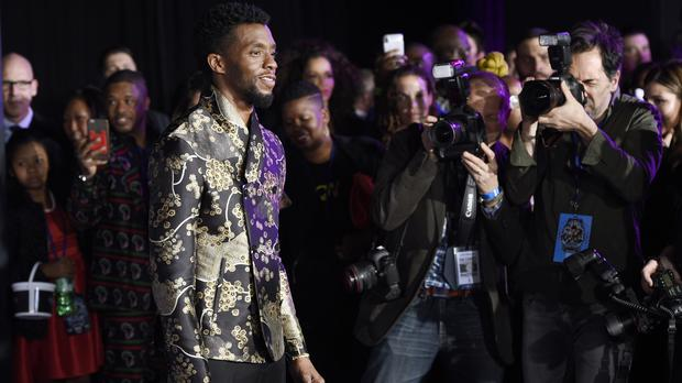 Chadwick Boseman, star of Black Panther, at the premiere of the film at The Dolby Theatre in Los Angeles (Chris Pizzello/Invision/AP)