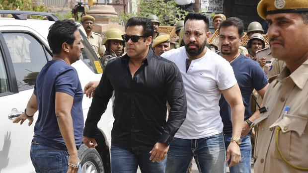 Bollywood star Salman Khan arrives at court in Jodhpur, Rajasthan state, India (Sunil Verma/AP)