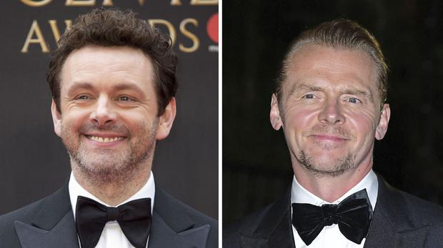 File photos of Michael Sheen (left) and Simon Pegg (PA)
