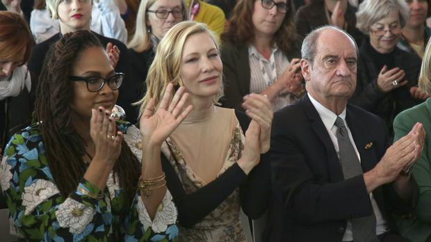 Jury member Ava DuVernay and jury president Cate Blanchett applaud after the signing of the 50/50 2020 Gender Equality Pledge (AP)