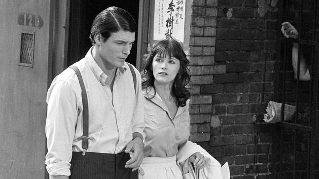 Christopher Reeve with Margot Kidder appear during the filming of Superman (AP)