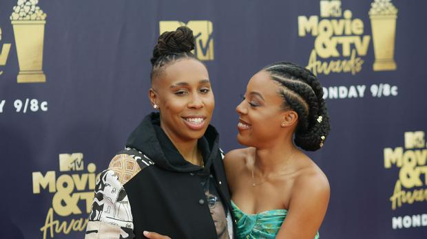 Lena Waithe and Alana Mayo arrive at the star-studded ceremony in Los Angleles (Francis Specker/PA Wire)