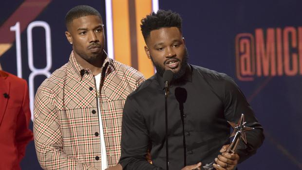 Michael B Jordan, left, and Ryan Coogler accept the Best Movie Award for Black Panther at the BET Awards in Los Angeles (Richard Shotwell/Invision/AP)