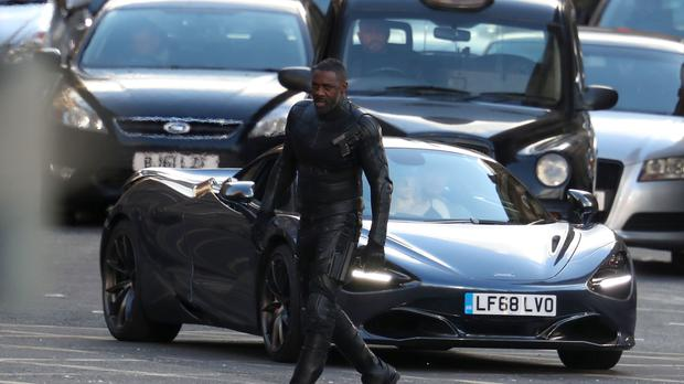 Actor Idris Elba during filming in Glasgow city centre for a new Fast and Furious movie (Andrew Milligan/PA)