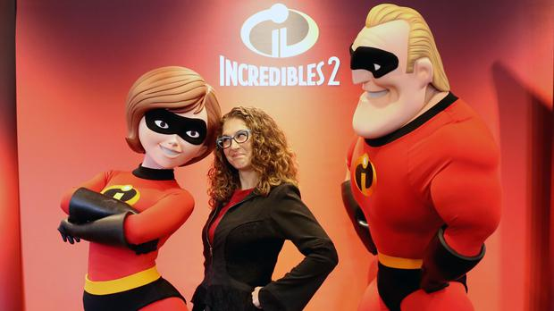 Chief animator Fran Kalal alongside the characters she created for Incredibles 2 (Jane Barlow/PA)