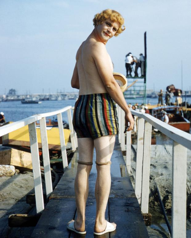 Nobody's perfect: Jack Lemmon in make-up for his role as 'Daphne' on the set of Some Like it Hot