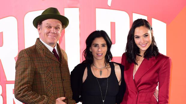 John C Reilly, Sarah Silverman and Gal Gadot at the premiere (Ian West/PA)