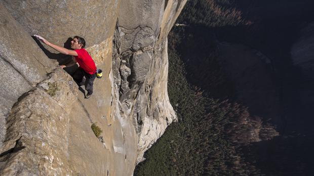 Alex Honnold free solo climbing on El Capitan's Freerider in Yosemite National Park (National Geographic/Jimmy Chin)