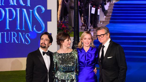 Lin-Manuel Miranda, Emily Mortimer, Emily Blunt and Colin Firth attending the European premiere of Mary Poppins Returns (Matt Crossick/PA)