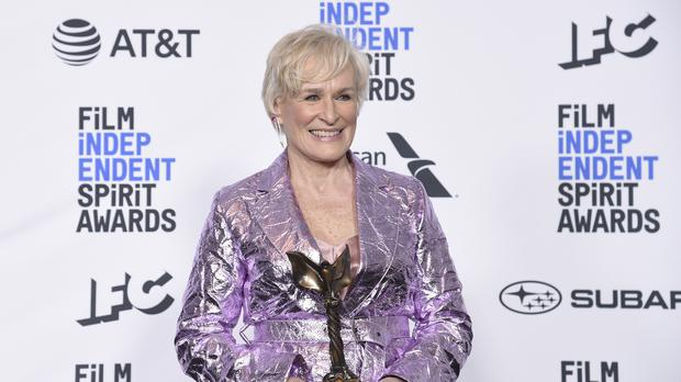 Glenn Close walked the blue carpet alongside her dog, Pip, at the 34th Film Independent Spirit Awards (Richard Shotwell/Invision/AP)