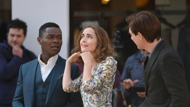 David Oyelowo, Rose Byrne and Domhnall Gleeson in Richmond, Surrey, during filming for the sequel to the children's classic Peter Rabbit (Kirsty O'Connor/PA)