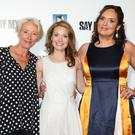 Emma Thompson with lead Lisa Brenner and writer Deborah Frances-White (Isobel Infantes/PA)