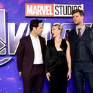 Paul Rudd (left), Scarlett Johansson and Chris Hemsworth attending the Avengers: Endgame fan event held at Picturehouse Central, London (Ian West/PA)
