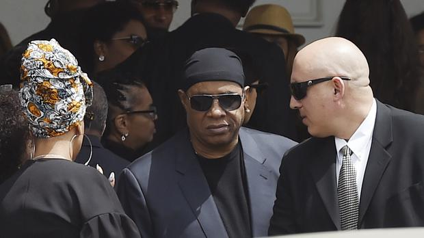 Singer Stevie Wonder leaves a memorial service for film director John Singleton at Angelus Funeral Home, Monday, May 6, 2019, in Los Angeles. Singleton died on April 29 following a stroke. (AP Photo/Chris Pizzello)