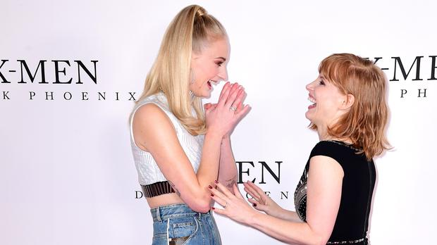 Sophie Turner and Jessica Chastain (Ian West/PA)