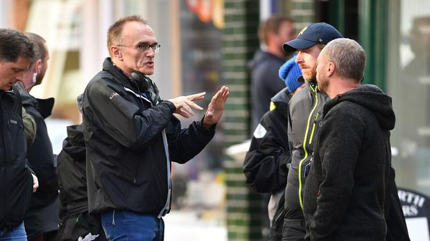 Director Danny Boyle during the shooting of his new film (Joe Giddens/PA)