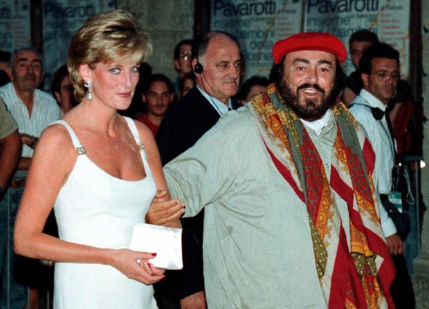 Pavarotti with Princess Diana in 2003