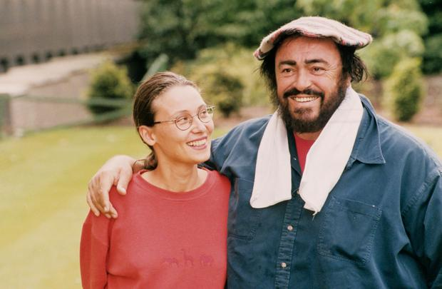 Luciano Pavarotti with his second wife Nicoletta Mantovani
