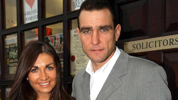 Ex-footballer and actor Vinnie Jones and his wife Tanya (Myung Jung Kim/PA)