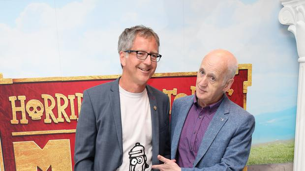 Horrible Histories co-creators Martin Brown, left, and Terry Deary attending the premiere (Chris Radburn/PA)
