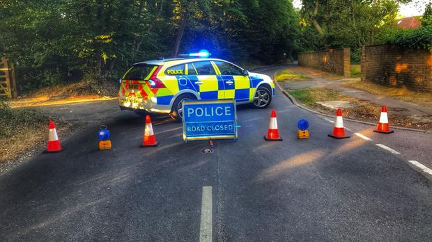 Road block near the scene of the fire at the Warner Bros Studios (Herts Police/PA)