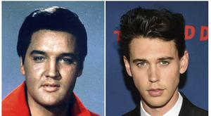 This combination photo shows singer-actor Elvis Presley in a 1964 photo, left, and actor Austin Butler who will play him in a movie (AP)