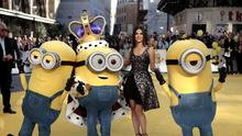 Sandra Bullock with Minions Kevin, Bob and Stuart at the world premiere of Minions