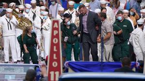 The actor took a spill while filming a scene where he barged through a marching band (Andrew Milligan/PA)