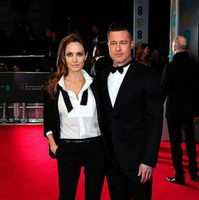 Angelina Jolie and Brad Pitt arrive at the Baftas