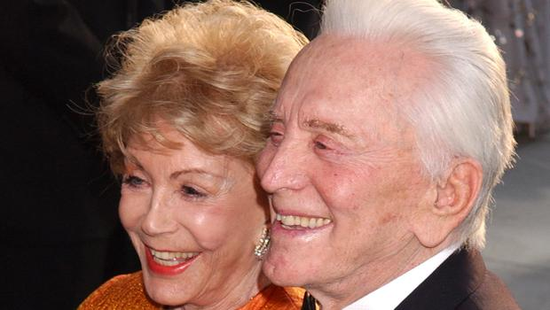 Actor Kirk Douglas has died age 103. Pictured with his wife Anne Buydens (Yui Mok/PA)