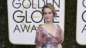 Claire Foy arrives at the Golden Globes (Photo by Jordan Strauss/Invision/AP)