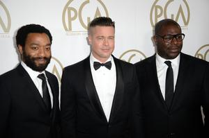 12 Years A Slave's Chiwetel Ejiofor, Brad Pitt and Steve McQueen.