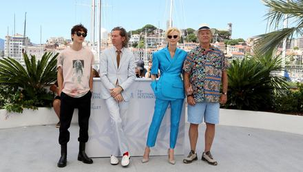 From left, Timothée Chalamet, Wes Anderson, Tilda Swinton and Bill Murray in Cannes for the screening of The French Dispatch. Photo: Getty Images