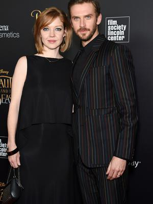 Actor Dan Stevens, who plays Beast, arrives at the screening with wife Susie Stevens