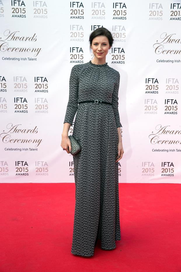 Caitriona Balfe pictured on the red carpet at the IFTA Awards