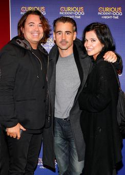FAMILY AFFAIR: Colin Farrell with his brother Eamonn and sister Claudine at the Bord Gais Energy Theatre recently. Right: In 'The Lobster' with Rachel Weisz