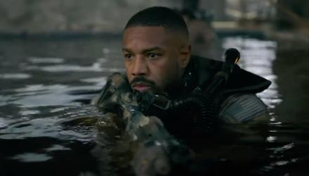 Lights out: Michael B Jordan in one of the many combat scenes conducted in near-darkness in Without Remorse