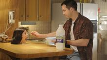 Table manners: Ryan Reynolds and Gemma Arterton in The Voices